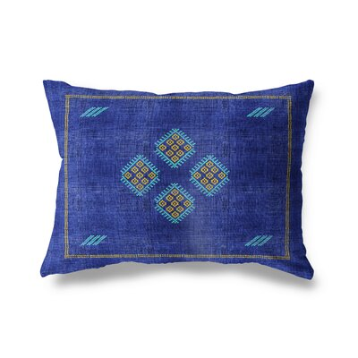 Stellan Kilim Lumbar Pillow Color: Bright Indigo, Size: 12'' x 16''