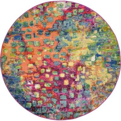 Massaoud Multicolor Area Rug Rug Size: Round 6'
