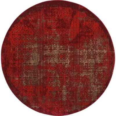 Saliba Red Area Rug Rug Size: Round 710