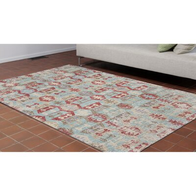 Tiburon Blue/Red/Beige Area Rug Rug Size: Runner 111 x 76