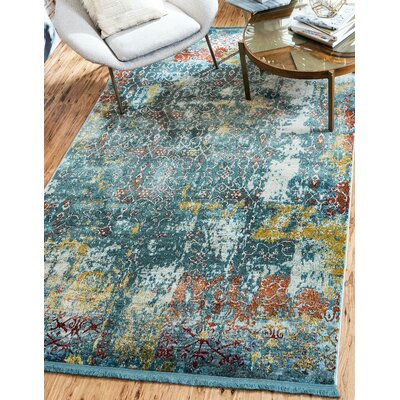 Lonerock Blue Area Rug Rug Size: Rectangle 5'5