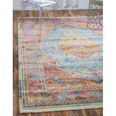 Lonerock Aqua/Pink Area Rug Rug Size: Rectangle 55 x 8