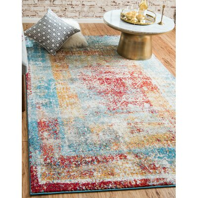 Hartell Blue Area Rug Rug Size: Rectangle 5 x 8