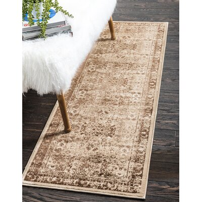 Yareli Brown/Cream Area Rug Rug Size: Runner 3' x 9'1