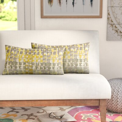 Momea Outdoor Lumbar Pillow Size: 12x24, Color: Gold/Grey