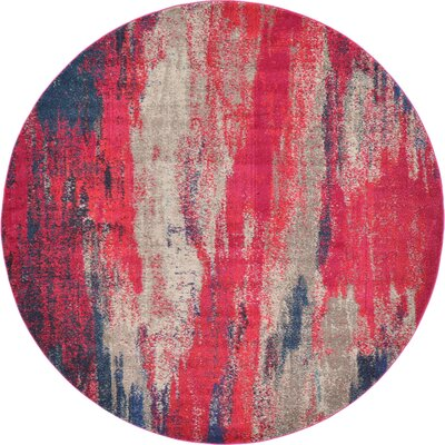 Fujii Red Area Rug Rug Size: Round 8