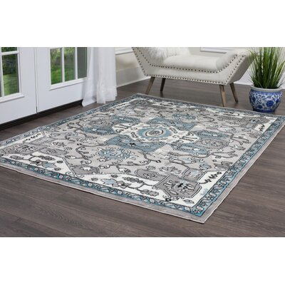 Brees Kaleidoscope Silver Area Rug Rug Size: 66 X 96
