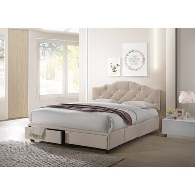 Jimmie Queen Upholstered Panel Bed with Storage