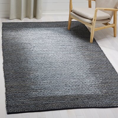 Logan Leather Hand-Woven Light Gray Area Rug Rug Size: Rectangle 5 x 8