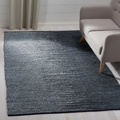 Logan Hand-Woven Light Grey/Charcoal Area Rug Rug Size: Rectangle 5 x 8