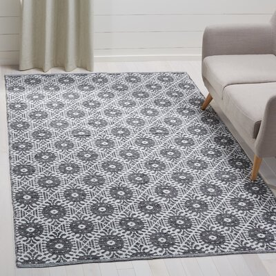 Clemence Hand-Woven Black/Ivory Area Rug Rug Size: Rectangle 5 x 8