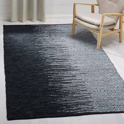 Erik Hand-Woven Light Grey/Black Area Rug Rug Size: Rectangle 5' x 8'
