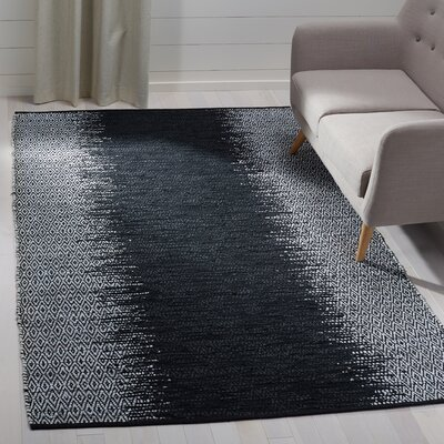 Logan Hand-Woven Light Grey/Black Area Rug Rug Size: Rectangle 5 x 8