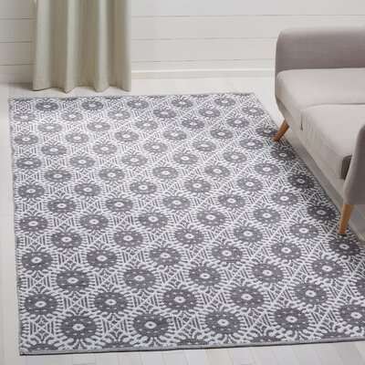 Clemence Hand-Woven Charcoal/Ivory Area Rug Rug Size: Rectangle 5 x 8