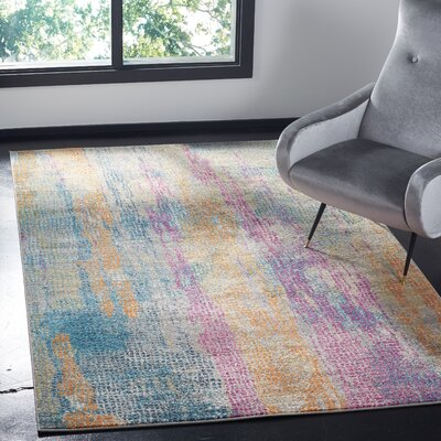 Esparza Contemporary Blue/Pink Area Rug Rug Size: Rectangle 51 x 76
