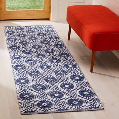 Clemence Hand-Woven Navy/Ivory Area Rug Rug Size: Runner 23 x 7
