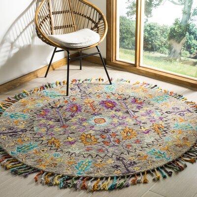 Broadmoor Hand-Tufted Wool Gray Area Rug Rug Size: Round 6
