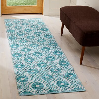 Clemence Hand-Woven Aqua/Ivory Area Rug Rug Size: Runner 23 x 7