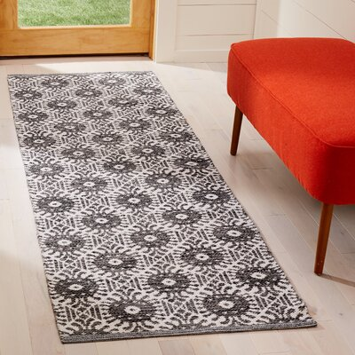Clemence Hand-Woven Black/Ivory Area Rug Rug Size: Runner 23 x 7