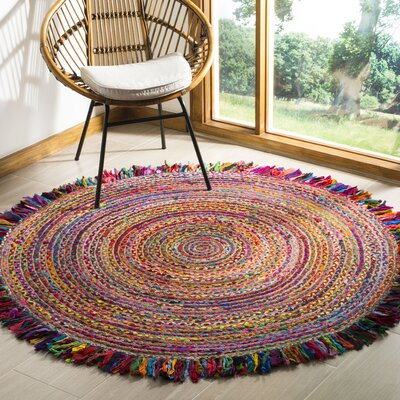 Abhay Boho Hand Woven Cotton Round Red/Blue Area Rug Rug Size: Round 4