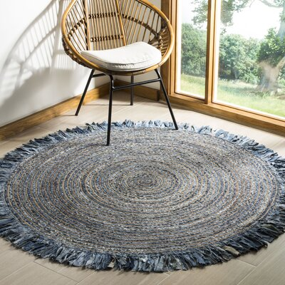 Abhay Boho Hand Woven Cotton Gray/Blue Area Rug Rug Size: Round 6