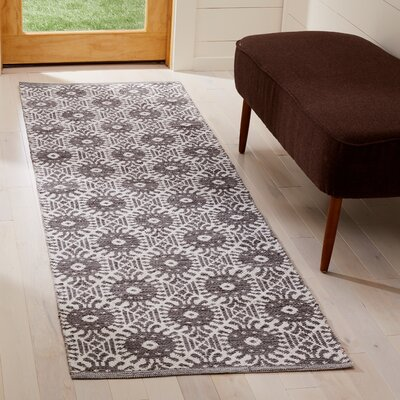 Clemence Hand-Woven Charcoal/Ivory Area Rug Rug Size: Runner 23 x 7
