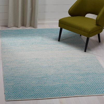 Saleem Hand-Woven Turquoise/Ivory Area Rug Rug Size: Rectangle 5 x 8