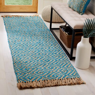 Miami Springs Natural Fiber Hand Tufted Turquoise Area Rug� Rug Size: Runner 23 x 8