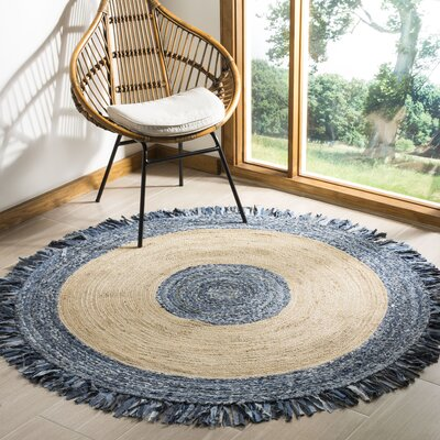 Abhay Hand Woven Jute/Sisal Ivory/Blue Area Rug Rug Size: Round 6