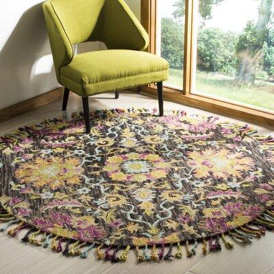 Broadmoor Hand-Tufted Wool Charcoal Area Rug Rug Size: Round 6