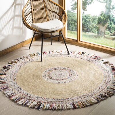 Abhay Hand Woven Round Ivory Area Rug Rug Size: Round 5