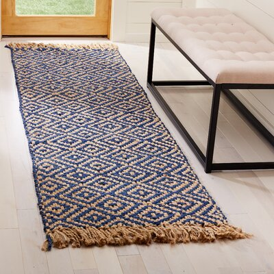 Okaloosa Natural Fiber Hand Tufted Tropical Blue Area Rug� Rug Size: Runner 23 x 8