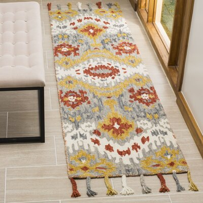 Niederanven Hand Tufted Wool Gray/Yellow Area Rug Rug Size: Runner 2'3