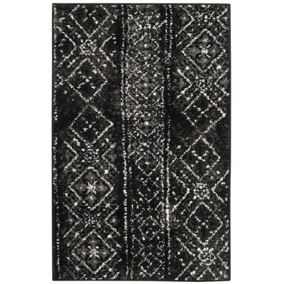 Vanek Black/Silver Area Rug Rug Size: Rectangle 26 x 4