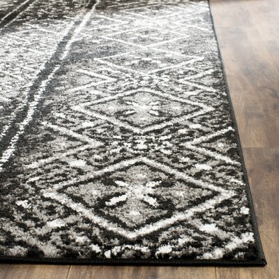 Meadors Black/Silver Area Rug Rug Size: Rectangle 51 x 76