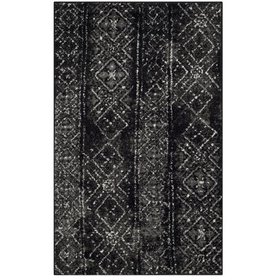 Meadors Black/Silver Area Rug Rug Size: Rectangle 3 x 5