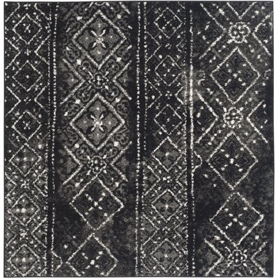 Meadors Black/Silver Area Rug Rug Size: Square 6