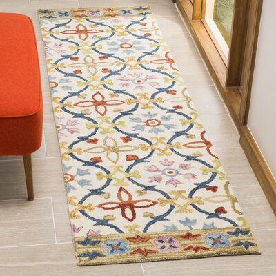 Talmo Hand Hooked Wool Ivory/Blue Area Rug Rug Size: Runner 23 x 8