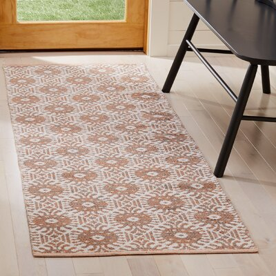 Clemence Hand-Woven Orange/Ivory Area Rug Rug Size: Runner 23 x 7