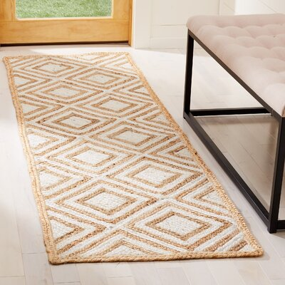 Abhay Contemporary Hand Woven Beige/White Area Rug Rug Size: Runner 23 x 8