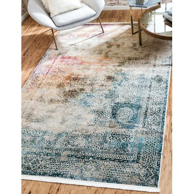 Lonerock Blue/Off-White Area Rug Rug Size: Rectangle 55 x 8