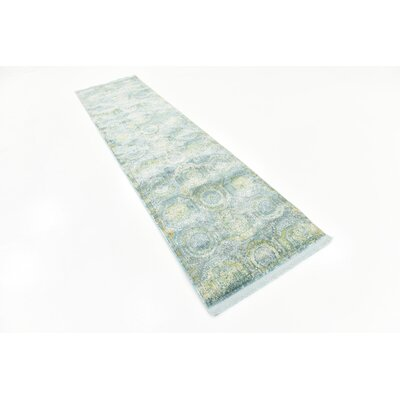 Lonerock Green/Light Blue Area Rug Rug Size: Runner 27 x 10