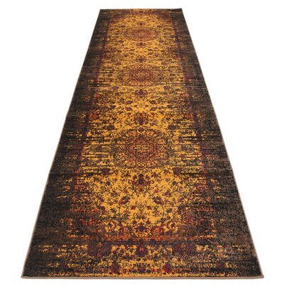 Neuilly Yellow/Brown Area Rug Rug Size: Runner 3 x 91