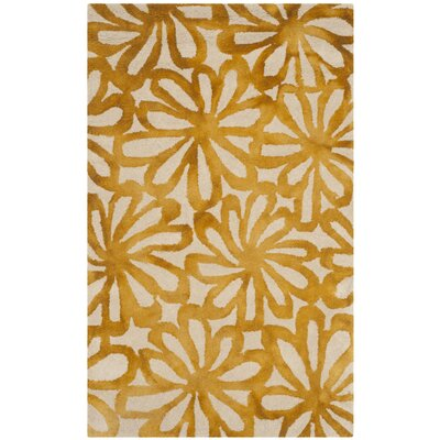 Hand-Tufted Beige & Gold Area Rug Rug Size: Rectangle 3 x 5
