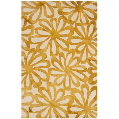 Hand-Tufted Beige & Gold Area Rug Rug Size: Rectangle 4 x 6
