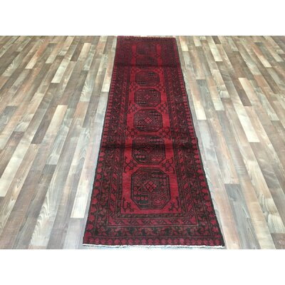 One-of-a-Kind Esperanza Khal Mohammadi Afghan Runner Hand-Woven Wool Red Area Rug