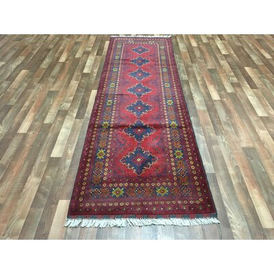 One-of-a-Kind Esperanza Traditional Khal Mohammadi Afghan Hand-Woven Wool Runner Red Area Rug