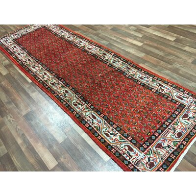 One-of-a-Kind Breonna Hand-Woven Runner Wool Red Geometric Area Rug