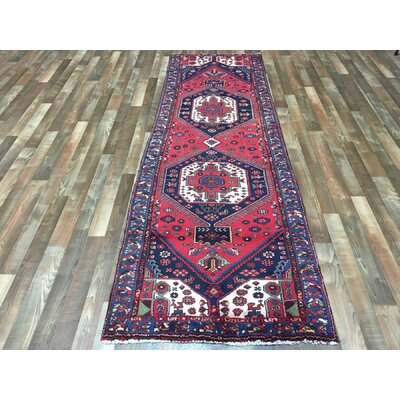 One-of-a-Kind Breonna Hand-Woven Wool Red Area Rug