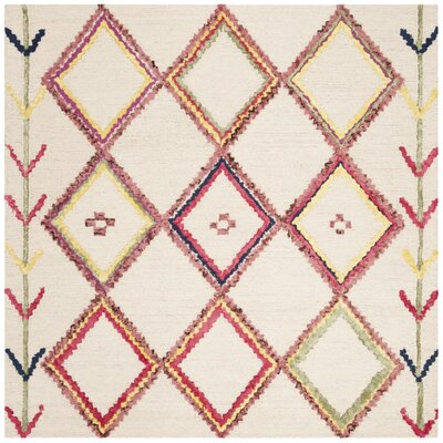 Juney Hand-Tufted Wool Ivory Area Rug Rug Size: Square 5